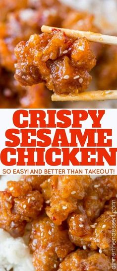 Crispy Sesame Chicken is easy to make with super crispy batter and delicious sesame sauce you'll skip the takeout! Crispy Sesame Chicken is easy to make with super crispy batter and delicious sesame sauce you'll skip the takeout! Honey Recipes, Asian Recipes, Healthy Recipes, Easy Delicious Recipes, Best Dinner Recipes, Chinese Sesame Chicken, Honey Sesame Chicken, Easy Chinese Recipes, Chinese Meals