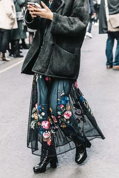 The winter-ready way to try the ubiquitous naked trend: a sheer maxi skirt over skinny jeans.
