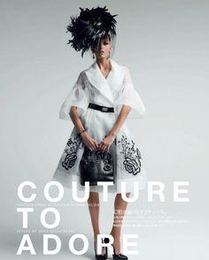 A linda modelo Anja Rubik pousa para as lentes do fotógrafo Patrick Demarchelier, com estilo da badalada editora Anna Dello Russo para a Vogue Japão Maio 2012.