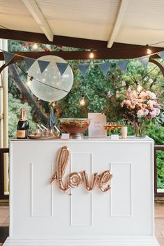 We love this simple 'love' sign to mark an incredible champagne bar at this vintage wedding. Champagne Bar, Bubbly Bar, Wedding Decorations, Table Decorations, Diy Engagement Decorations, Engagement Party Signs, Engagement Parties, Diy Home Decor Projects, Do It Yourself Home