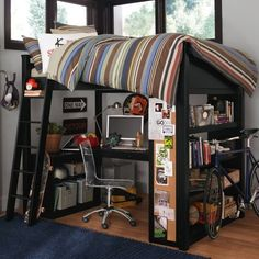 I love this loft. If I fidn a studio apartment with high ceilings, I want to build this loft with 6 feet clearance underneath. Shoes on the tall bookcase, drawers/baskets for socks and such on the short book case, jewelry on top of the short bookcase, and a hanging bar instead of the actual desk itself.  Found on www.home-designing.com via Tumblr