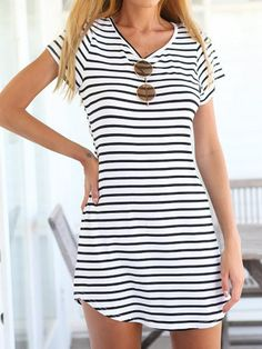 Summer Style 2016 New Women Dress Casual Loose Black White Striped Dress Short Sleeve Sexy O Neck Mini Dress Vestidos Plus Size Mode Man, Look 2015, Summer Outfits, Cute Outfits, Dress Summer, Summer Wear, Summer Clothes, Look Fashion, Womens Fashion