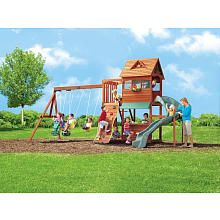 """Stoneybrook Lodge Wood Gym Set *I have been looking and looking and I think this is the one! I am so excited to see the look on my girls' face when it gets here and is set up! They love """"Play Park"""" as they call it!!!* :)"""