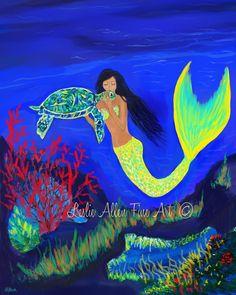 Mermaid Art Mermaid Painting Mermaid Theme by LeslieAllenFineArt