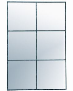 Elegant large rectangular window pane mirror with a minimal metal frame in a distressed black finish - a statement mirror for hallways, living rooms, bedrooms. Window Pane Mirror, Black Window Frames, Hallway Mirror, Black Wall Mirror, Metal Mirror, Gold Wall Lights, Industrial Mirrors, Industrial Style, Decorative Mirrors