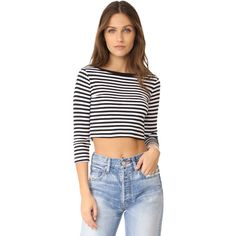 Three Dots 3/4 Sleeve Crop Top ($55) ❤ liked on Polyvore featuring tops, cropped tops, 3 4 sleeve crop top, 3/4 sleeve tops, striped top and jersey crop top