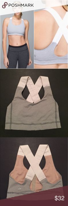 Lululemon All Sport Bra Lululemon All Sport Bra in the color Tonka Stripe Heathered Slate White, size 2, excellent condition with no flaws. Original pads not included. Bundle to save 10% off ❤ lululemon athletica Intimates & Sleepwear Bras