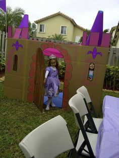 Princess Sofia Party - 4th birthday idea......could be used as a photo booth where the girls could have their pictures taken with the birthday girl and then have a group picture with all the girls somewhere in or around the castle.