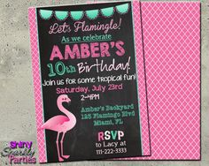"FLAMINGO BIRTHDAY INVITATION - ""Printable Flamingo Invite"" - Tropical Birthday Invitation - Flamingo Party Invite - Flamingle Invitation"