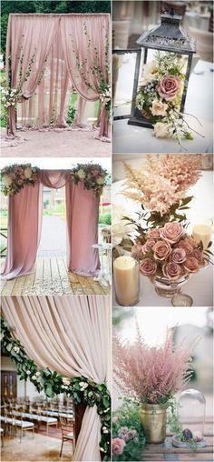 dusty rose wedding arch and centerpiece decoration ideas #weddingcolors #weddingdecor #weddingtrends