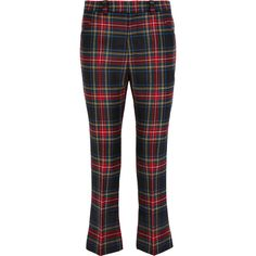 Gucci Tartan cropped wool flared pants (€650) ❤ liked on Polyvore featuring pants, capris, green, flared trousers, cropped trousers, flare pants, wool trousers and tartan plaid pants