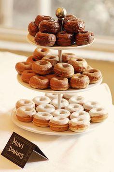 Mini donuts for dessert #wedding #desserttable #donuts #minidonuts #weddingdessert