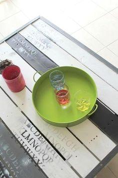table basse palette et métal - palet