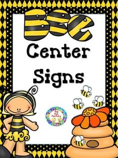 Center Signs; Bee Themed  To complete your bee themed room decorations this center labeling set includes signs for 22 center signs, 22 matching center management chart cards and 22 student assignment cards.