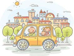 Carro de Família - ilustração de arte vetorial