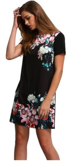 Women's Floral Print Short Sleeve Casual Top Shirt Dress