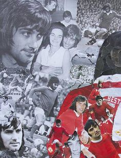 size - 105 x (approx 4 x 6 inches) 4 page greeting card featuring the George Best collage by artist John Kerr. The paper is 350 gsm Silk paper. The collage is made from of ripped up pictures of George Best. Pop Art Collage, Collage Making, John Kerr, Man United, Manchester United, Irish, The Past, Greeting Cards, Football
