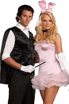 Halloween, partners, tux and cape and wand, bunny ears, gloves, bunny and magician, couples costume, like magic