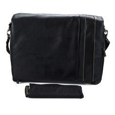 Wurkin Stiffs Black Leather Messenger Bag