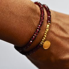 Image of Garnet and Gold vermeil Garnet Double wrap bracelet by Vivien Frank