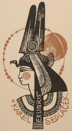 Karel Sedlacek bookplate (or ex libris), by Ladislav Rusek (1966).