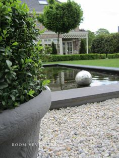 grey accents on pale stone and simple pond, grass and topiary - Room Seventeen