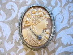 1920s Deco Celluloid CAMEO Pin or Brooch w Paste by charmingellie, $46.00