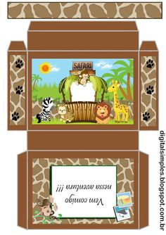Digital Birthday Kit Safari Boy Theme to Print - Simple Digital Invitations Bear Party, Jungle Party, Safari Party, Safari Theme Birthday, Birthday Party Themes, Safari Cakes, Elephant Party, Favor Boxes, First Birthdays