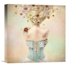 """Global Gallery 'Girl Of The Flower Garden' by Kiyo Murakami Graphic Art on Wrapped Canvas Size: 16"""" H x 16"""" W x 1.5"""" D"""