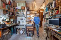 Illustrator Oliver Jeffers' New York apartment is a canvas for his quirky art and singular worldview, Emma Brockes discovers. Oliver Jeffers, New York Apartments, New York Homes, Artist Workspace, Workspace Design, Quirky Art, Studio Setup, Studio Ideas, Studio Layout
