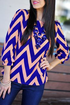 Chevron top in peach and blue
