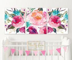 19 Ideas Canvas Art Watercolor Ideas For 2019 Art Floral, Art Mural Floral, Floral Artwork, Watercolor Walls, Watercolor Artists, Watercolor Flowers, Watercolor Ideas, Floral Nursery, Nursery Wall Art