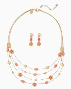 charming charlie   Tropical Sunset Necklace Set $15  UPC: 400000272757 #charmingcharlie