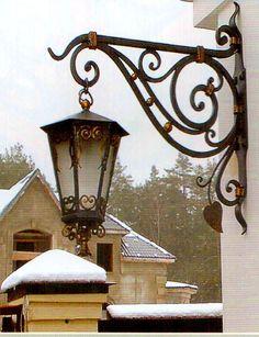 Corridor Lighting, Porch Lighting, Rustic Lighting, Bar Lighting, Hanging Basket Brackets, Building Stairs, House Front Design, Entrance Design, Grill Design