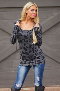 Turning Heads Hoodie - Leopard Charcoal from Closet Candy Boutique #fashion #fall