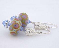 Light blue purple artisan glass sterling #handmade #earrings @cserpentDesigns