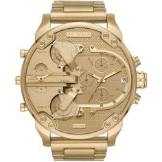 Diesel Men's Chronograph Mr. Daddy 2.0 Gold-Tone Stainless Steel... (535 CAD) ❤ liked on Polyvore featuring men's fashion, men's jewelry, men's bracelets, gold and mens watches jewelry