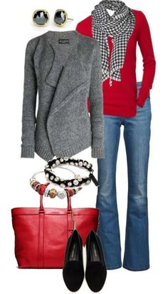 Red and Gray color theme for a casual look. Perfect with a pair of loafers and a good no show foot socks.