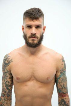 beard, nipple ring and tatoo sleeves = #BadBoy