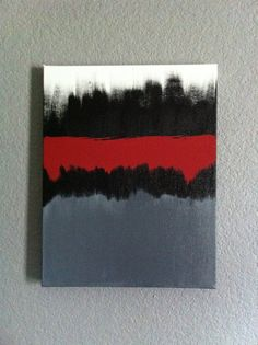 Gray Black Red Acrylic Painting on 11x14 Canvas by UptownUrbanArt, $60.00