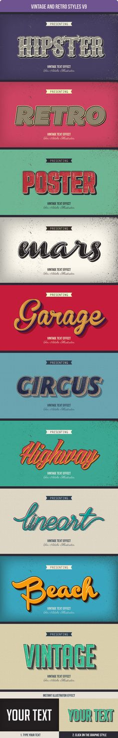 Awesome 10 different vintage and retro graphic style for Adobe Illustrator #design #ai Download: http://graphicriver.net/item/vintage-and-retro-styles-v9/10981418?ref=ksioks