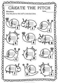 Treble Clef Note Naming Worksheets for Spring4