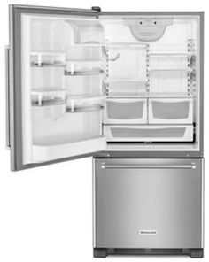 KitchenAid ft Bottom-Freezer Refrigerator (Stainless Steel) ENERGY STAR at Lowe's. This striking 22 cubic foot refrigerator comes with the ExtendFresh™ Temperature Management System and Produce Preserver to help maintain the taste Kitchenaid Refrigerator, Counter Depth Refrigerator, Bottom Freezer Refrigerator, Stainless Steel Refrigerator, French Door Refrigerator, Kitchen Aid Appliances, Steel House, Energy Star, Texture