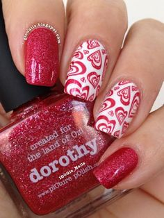 Amor de Dorothy ~ base polish piCture pOlish 'Dorothy' and accent nails with Essie 'Blanc' stamped using Cheeky plate CH15 and piCture pOlish 'Dorothy' ~ by GioNails