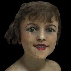 View this item and discover similar for sale at - Wax head / bust of a young girl mannequin glass eyes, real human teeth. Vintage Mannequin, Dress Form Mannequin, Mannequin Heads, Artist Mannequin, Frozen Face, Wig Hat, Human Teeth, Haunted Dolls, Antique Wax