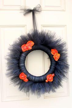 orange stoff rosen Halloween Türkranz spitze schwarz