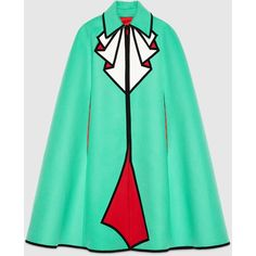 Gucci Trompe L'Oeil Wool Cape ($3,600) ❤ liked on Polyvore featuring outerwear, coats, gucci, cape, coats & jackets, jackets, ready to wear, women, patterned wool coat and cape coat