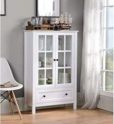 Homestar Glass cabinet in white, framed doors with tempered Glass to display special items. This beautiful cabinet has 1 storage drawer with metal Knobs and metal drawer runners Framed doors with tempered Glass Easy to assemble Furniture Deals, Dining Room Furniture, Bathroom Furniture, Bathroom Ideas, Basement Bathroom, Furniture Online, Bathroom Designs, Rustic Furniture, Painted Furniture