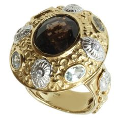 Dallas Prince Gold over Silver Smoky Quartz, Aquamarine and Zircon Ring