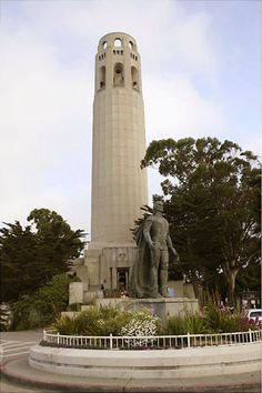 The art-deco Coit Tower, Pioneer Park, San Francisco, California with statue of Christopher Columbus. by GFDL Coit Tower San Francisco, San Francisco City, San Francisco Travel, San Francisco California, California Dreamin', Northern California, Harlem Renaissance, Places To Travel, Places To Visit